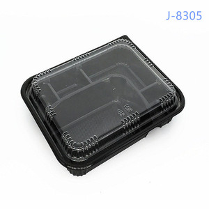 Factory Supply Black PS Disposable Plastic Food Tray/Bento Lunch Box with Clear Lid