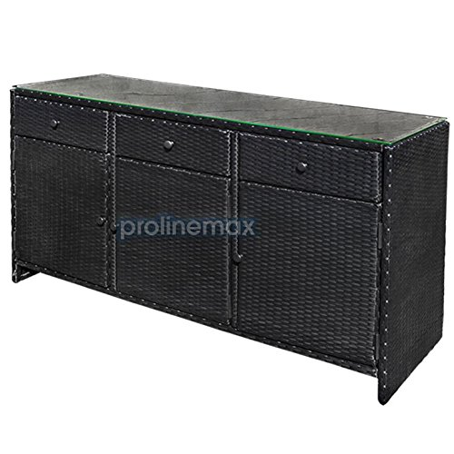 Genial Get Quotations · BLACK 3 Drawers Wicker Rattan Buffet Serving Cabinet Table  Towel Dining Dish China Storage Counter Outdoor