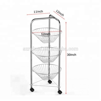 Detachable Portable Metal Wire 3 Tier Fruit Basket Stand
