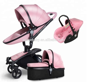China New design leather pink baby stroller type famous brand good quality