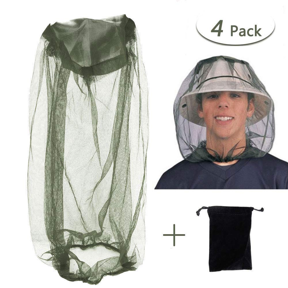 Flecom Mosquito Head Net, 4 Pack Insect Netting for Head Face Mesh Net Protection Head Cover for Outdoor Fishing Camping,Hiking,Traveling, Beekeeping and Gardening