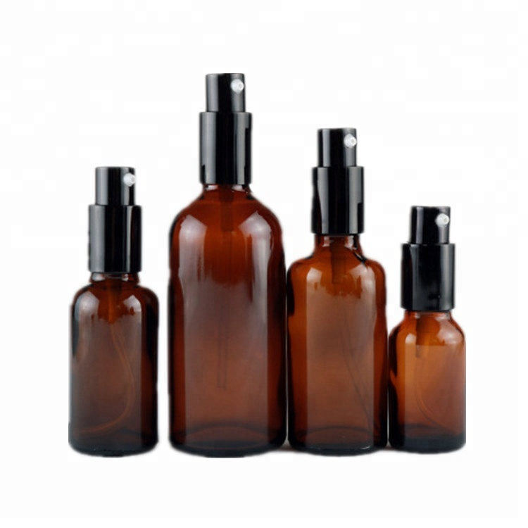 Draagbare 15 ml 1 oz 50 ml 100 ml amber glas ronde dispenser lotion fles met pomp spray