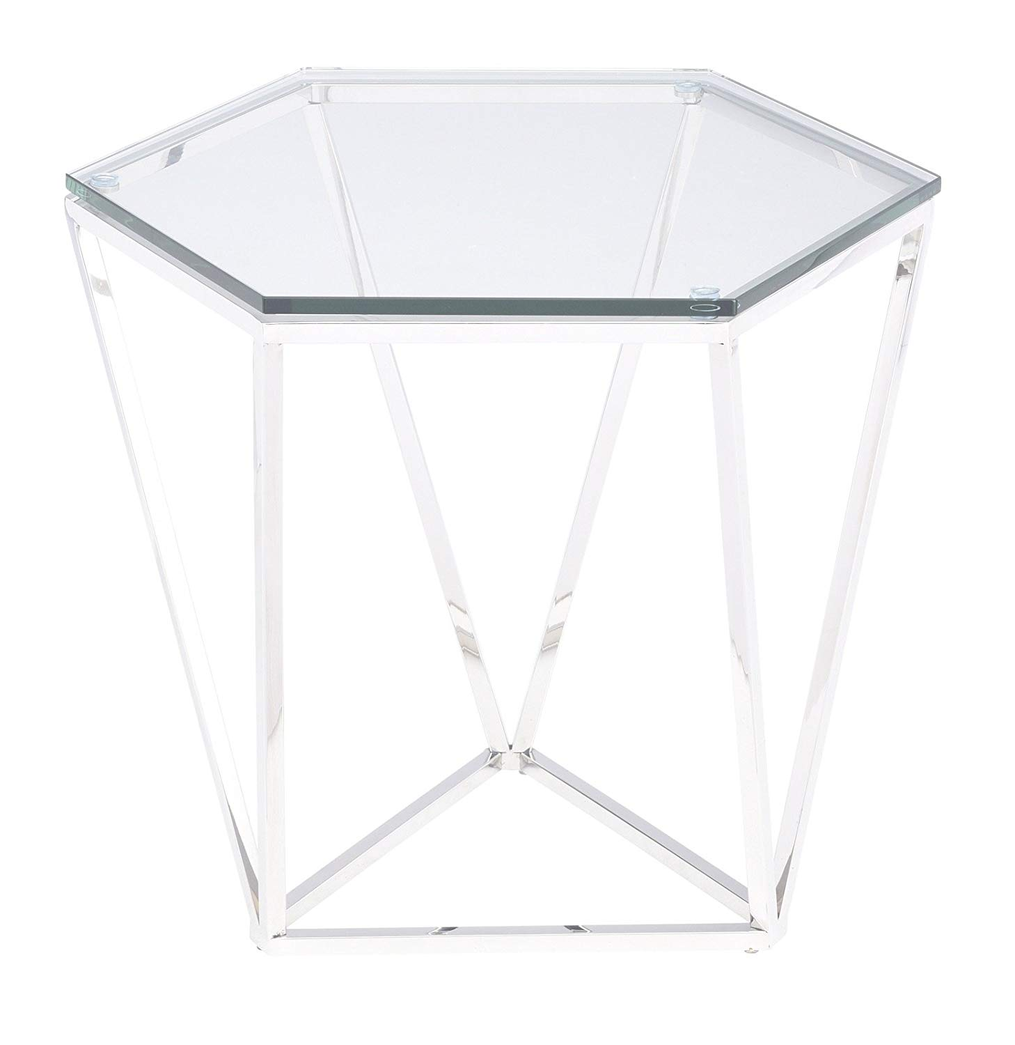 Nuevo Living Louisa Side Table in Polished Stainless Steel and Glass Hexagon