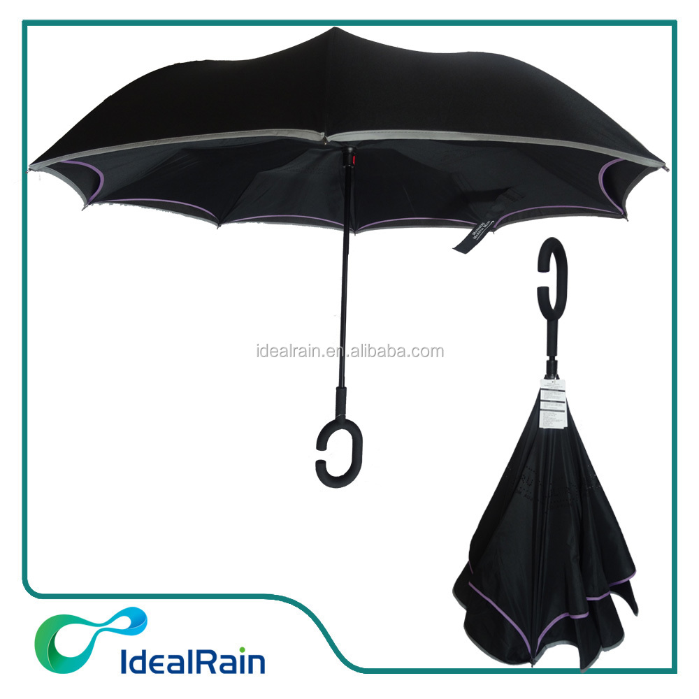 black easy open and close rain umbrella with inside logo hole printed