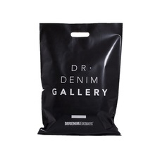 Commercio all'ingrosso Personalizzabile Logo Stampa Formato Standard di Alta Qualità Heavy Duty Black Plastic Shopping Bag Con Maniglia