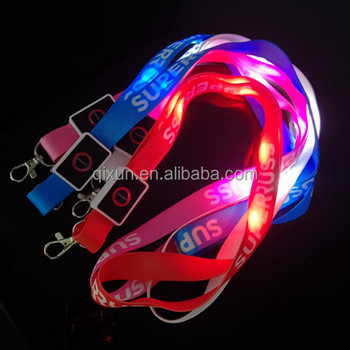 luminous glowing custom printed id card neck strap with led