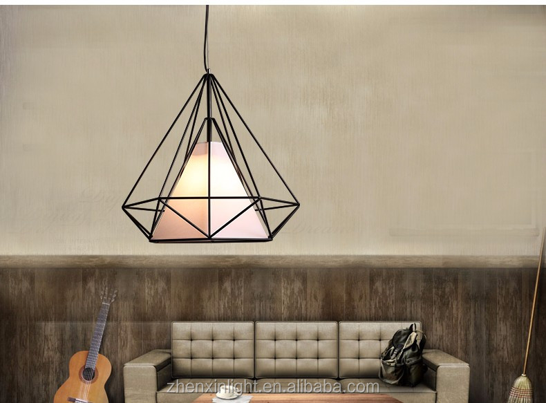 Nordic Industrial loft black iron white fabric Pendant light for Home/Bar/Cafe