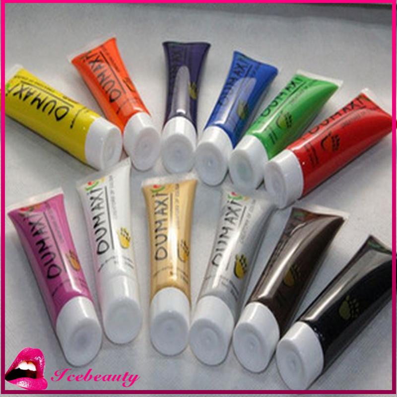 Fashion Nails Tools 12colors Nail Art Polish Pen For: 12-Colors-lot-Acrylic-UV-Gel-Design-3D-Paint-Tube-Nail-Art