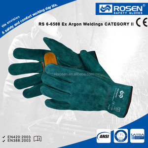 RS SAFETY cotton lined cow split green color leather work gloves men for welding