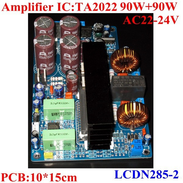 TA2022 Audio Amplifier PCB board with LM833 preamplifier and short circuit protect.