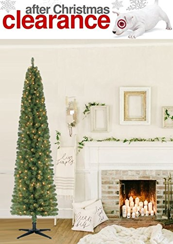 get quotations a 7 foot norway spruce pre lit pencil tree artificial christmas tree 210 clear