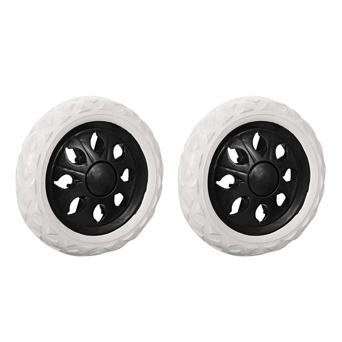 uxcell Shopping Cart Wheels Trolley Caster Replacement 6.5 Inch Dia Rubber Foaming Black 2pcs