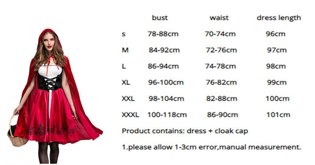 a09917a75 ... capa Cosplay disfraces traje para fiesta. 3XL Plus tamaño pequeño  disfraz de Caperucita roja para mujer elegante de Halloween para adultos  vestido
