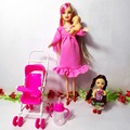 Hot Sale dollhouse furniture children play house sets For Pregnant Barbie doll Baby Trolley Nursery Furniture