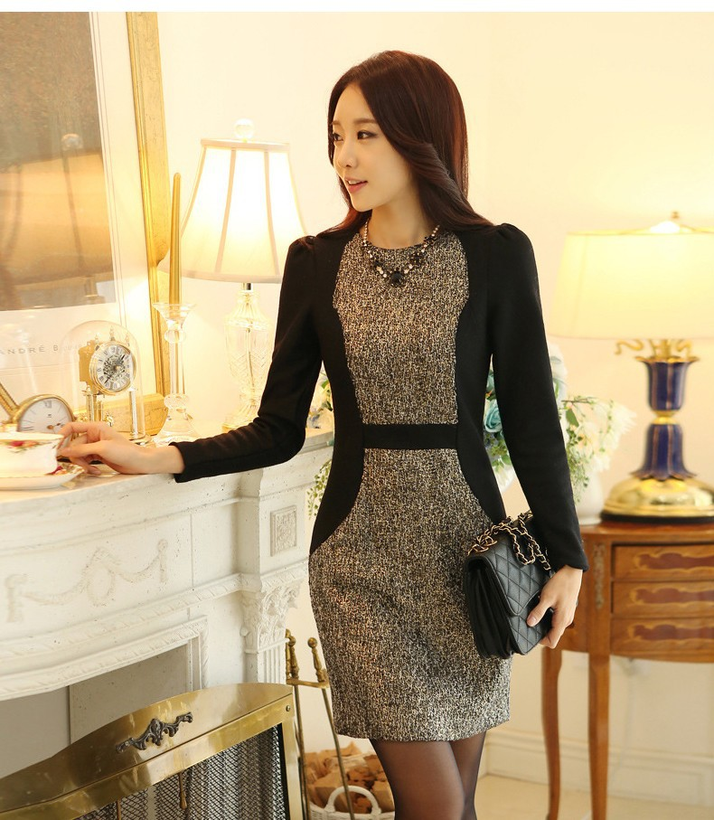 d6a4d0ff65c9 2014 Autumn Winter New Fashion Korean Style Work Wear Long Sleeve Ladies  Short Dresses
