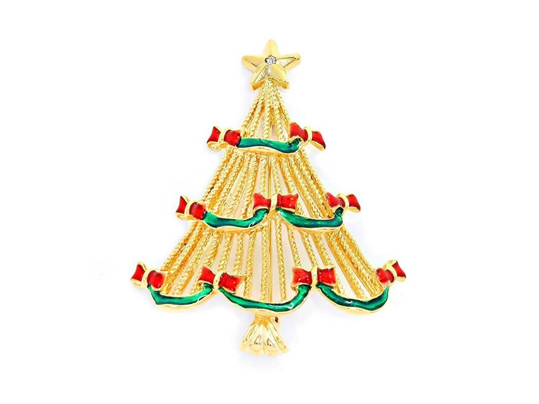 Goldtone Crystal Enamel Christmas Tree Brooch