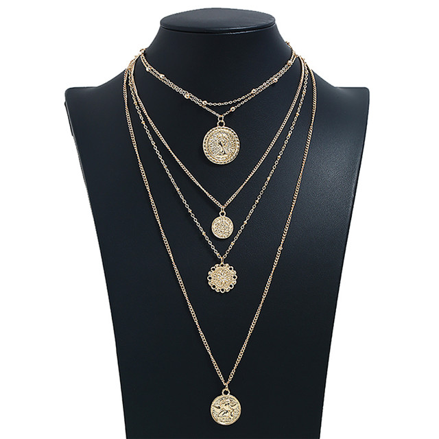 USA Fashion Jewelry Four Round Pendant Plated 18K Gold Chapter Necklace