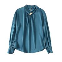 PRETTY STEPS Latest fashion spring silk turtleneck female elegant temperament pure color shirt