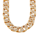Hot Selling Statement Hip Hop Crystal Gold Plated Chain Necklace for Man
