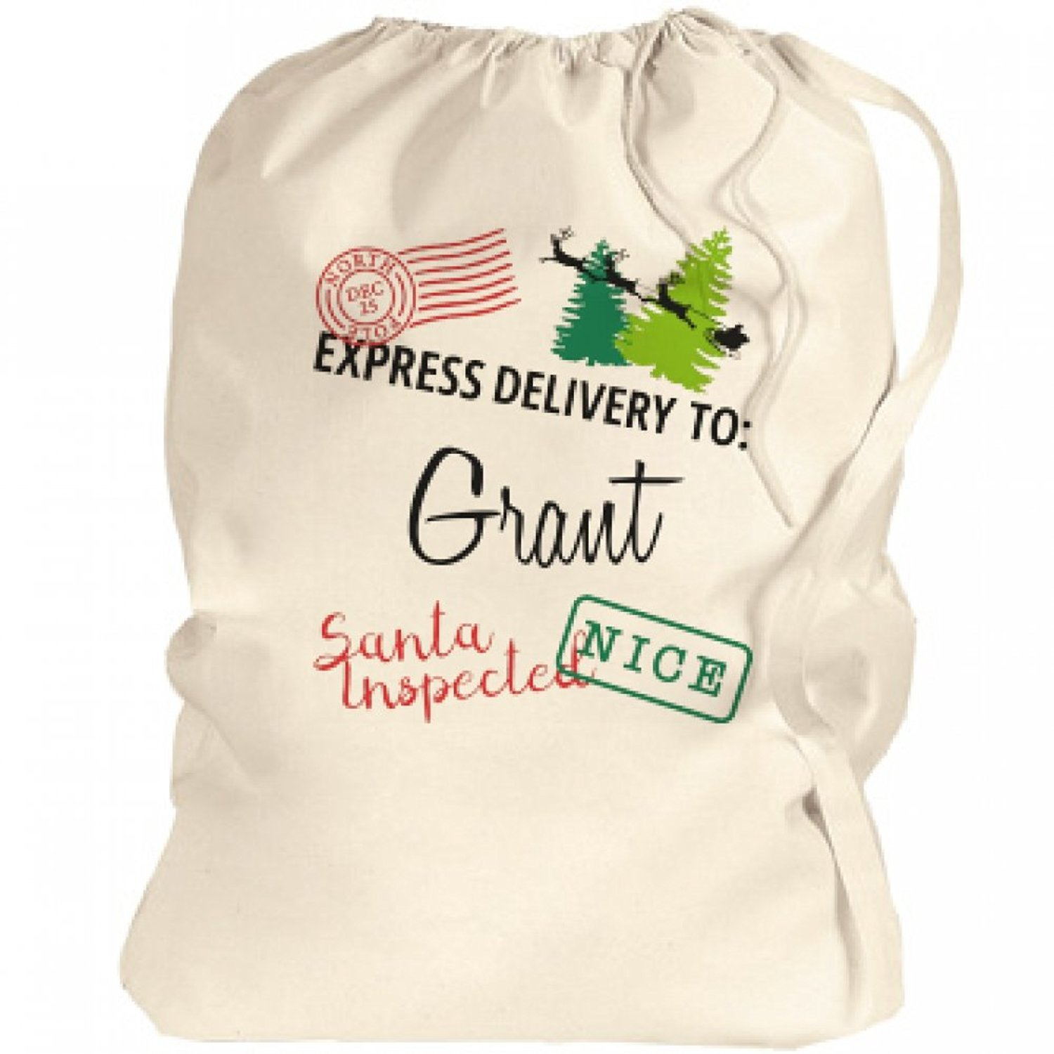 Christmas Express Delivery To Grant Santa Bag: Canvas Laundry Bag