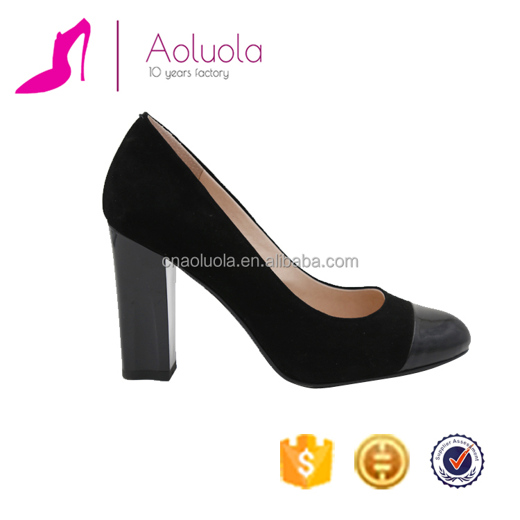 New design genuine leather black lady fashion shoes with thick <strong>heel</strong>