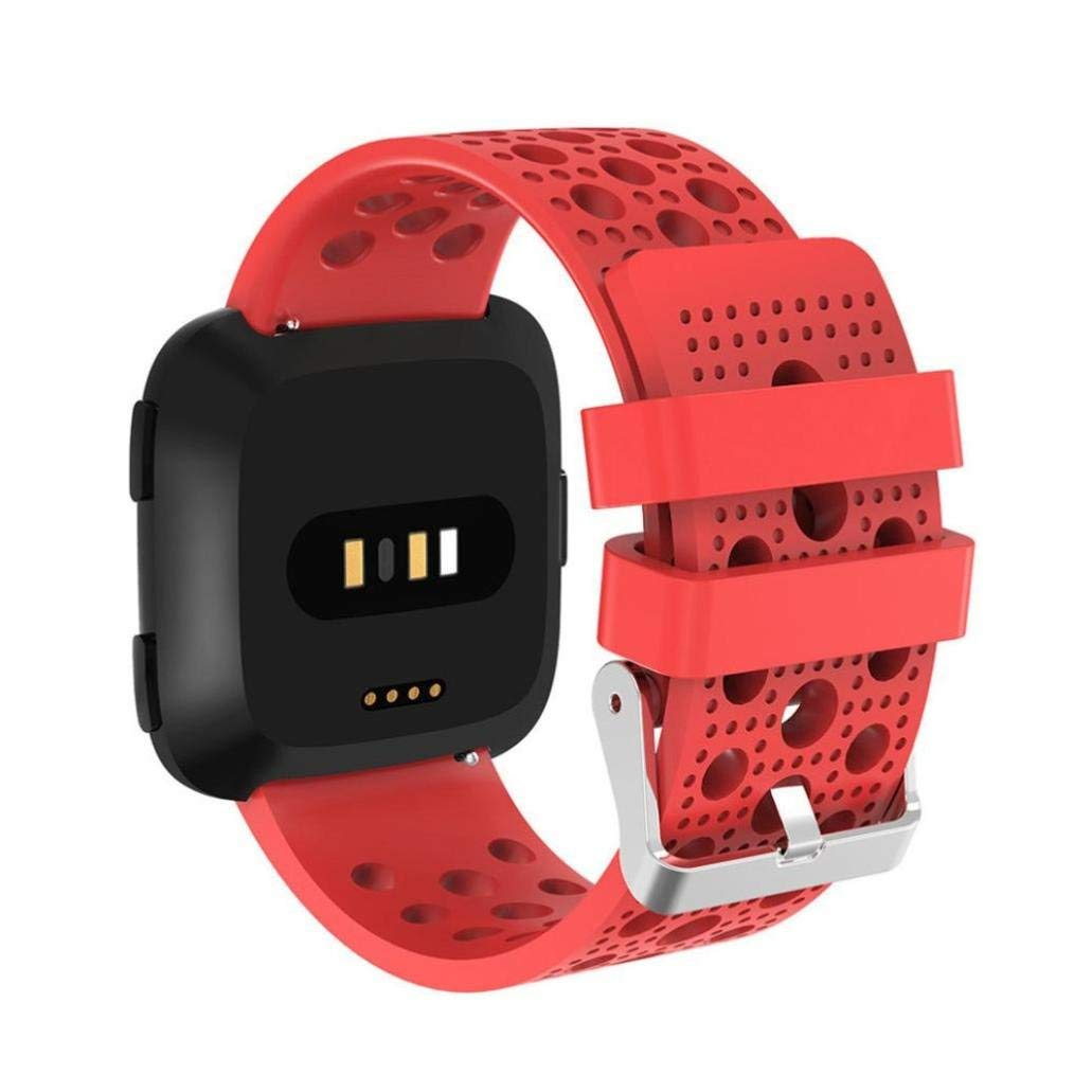 """Owill Replacement Soft Silicagel Sports Watch Band Strap For Fitbit Versa, Fits 5.5""""-8.6"""" Wrist (Watermelon Red)"""