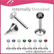 316Lstainless steel internally threaded lip piercing surgical steel labret with 3mm Prong Gem