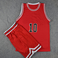 Red and white basketball uniform, optional color number, text mark.