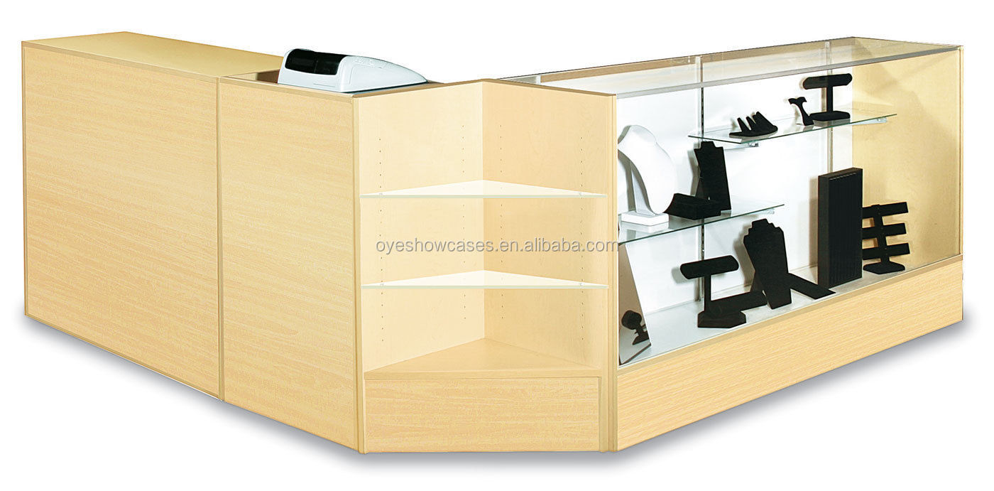 "Resepsionis Checkout Counter Pos 70 ""Case 70"" Bungkus Counter 24 ""Arus Berdiri Maple Knockdown"