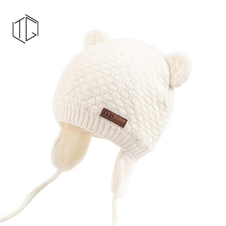 カスタムロゴかわいいウールニット冬ベビーキッズビーニー帽子
