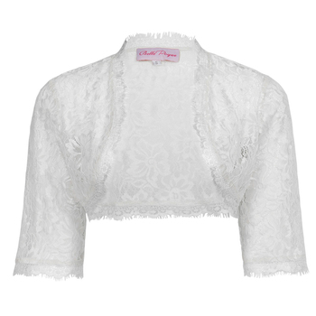 BP Womens Ladies Wedding Bridal Bridesmaid 3/4 Sleeve White Lace Shrug Bolero BP000319-2