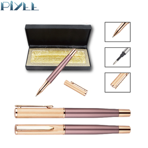 Rose gold pink luxury business exhibition gift metal gel pen kit with roller ink