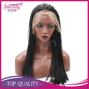 Hand made braided lace front wigs natural black color braid lace front wig jumbo braid synthetic hair wig