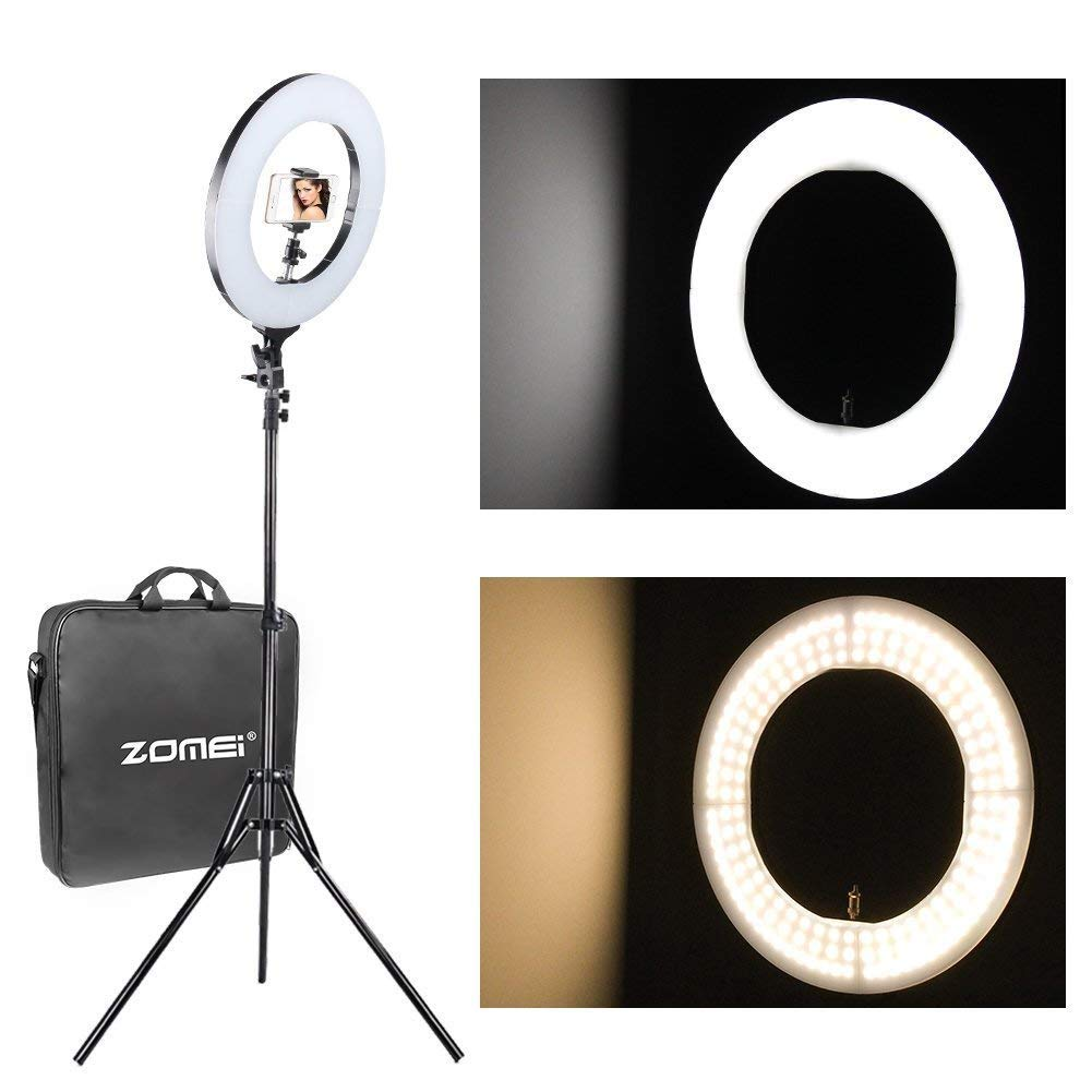 12 inch ZOMEI Camera Photo Video Lighting Kit: 14 inch Outer 55W 5500K Dimmable LED Ring Light, Light Stand, Phone Holder for Smartphone, YouTube, Vine Self-Portrait Video Shooting