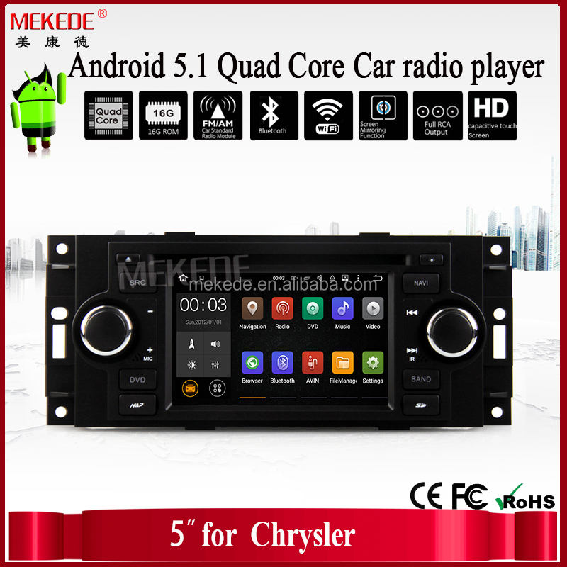 Android 5.1.1 system 5 Inch Car DVD Player For Chrysler/300C/Dodge/RAM/Jeep/Commander/Compass/Wrangler/Grand Cherokee