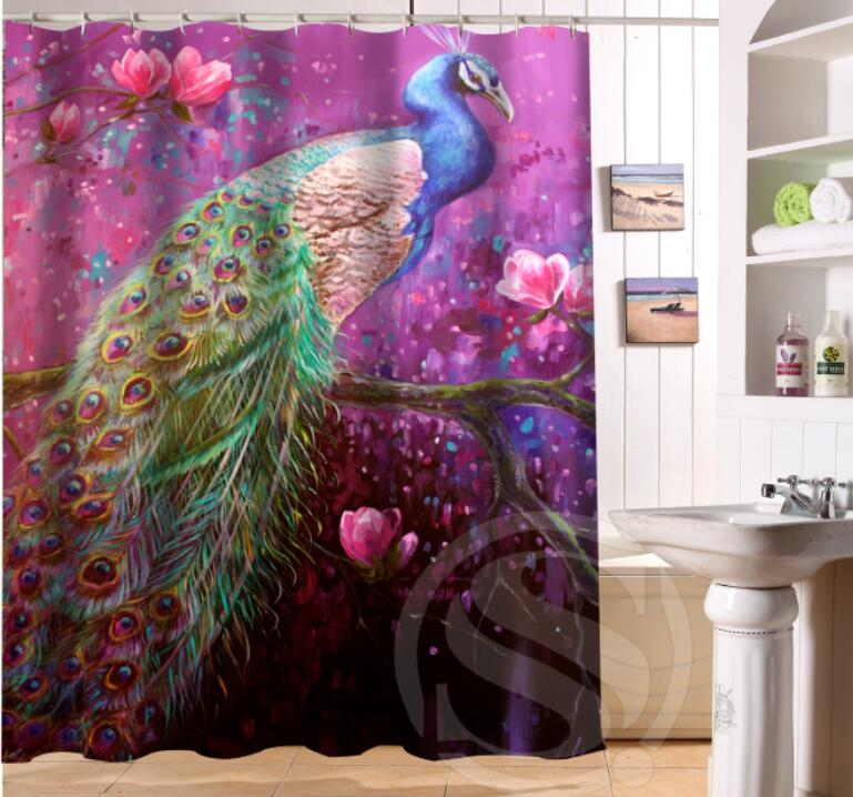 Free Shipping Custom Colorfulful peacock Waterproof Fabric Bathroom Shower Curtain home decoration SQ0622-LQ372