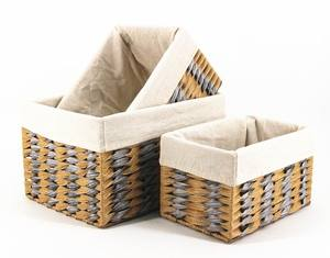 golden/silvery color PE woven storage baskets