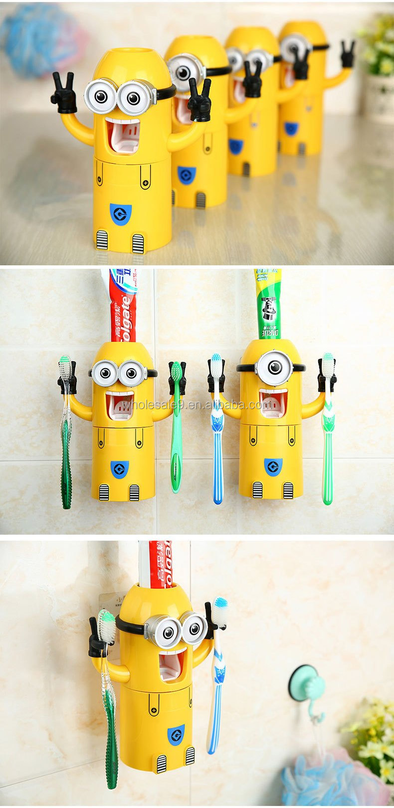 Mr. Minions Toothpaste Dispenser Kids Funny Bathroom Accessories/Automatic  Toothpaste Dispenser Toothbrush Rack Tumbler