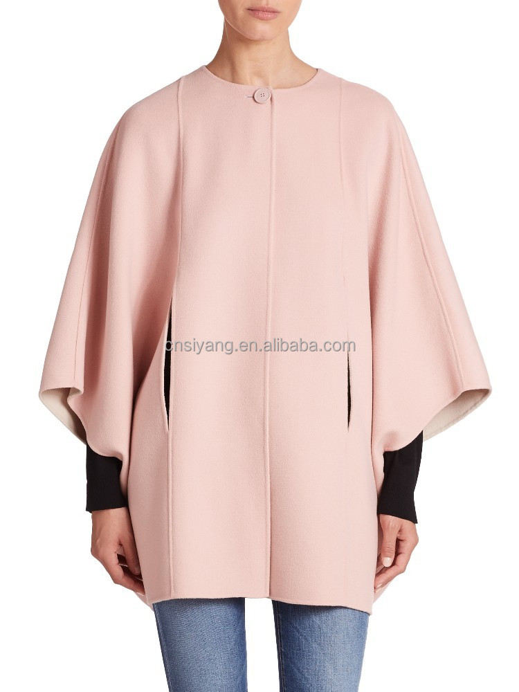 2015 New Style Ladies Pink Wool Cape CoatHigh Quality Coat For