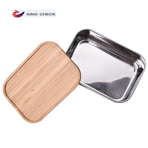 Tableware rectangle airtight stainless steel bamboo lunch box eco friendly food box with elastic band