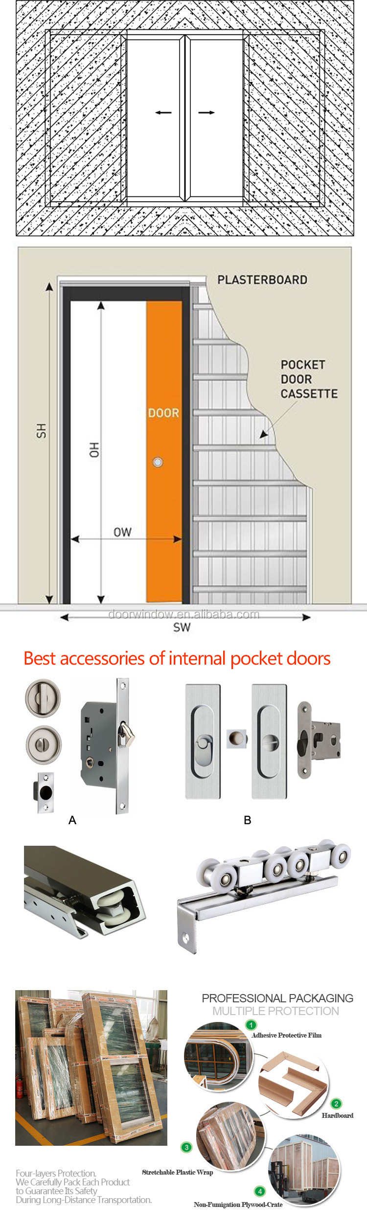 Fashion exterior pocket doors metal french louvered door