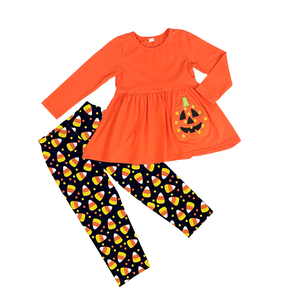 New Pumpkin Halloween Baby Girl Outfits Wholesale Children Boutique Halloween Clothing