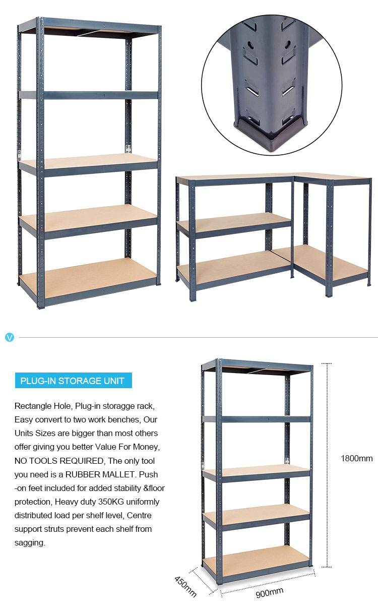 Heavy duty boltless metal shelving 5-shelf shelving unit