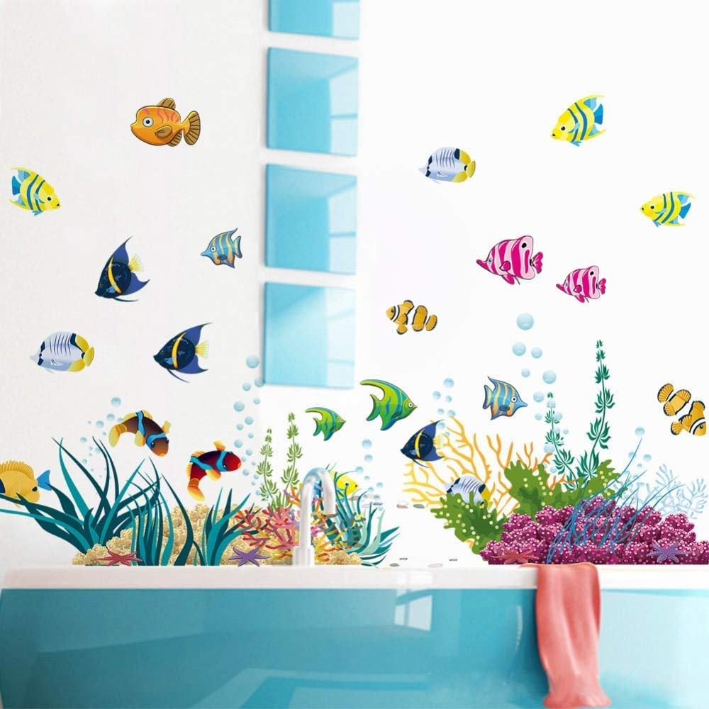 Star-Five-Store - Underwater world Wall Sticker Sea Fish star Carton DIY Bathroom Kids Room Wall Decals Art Mural PVC Stickers