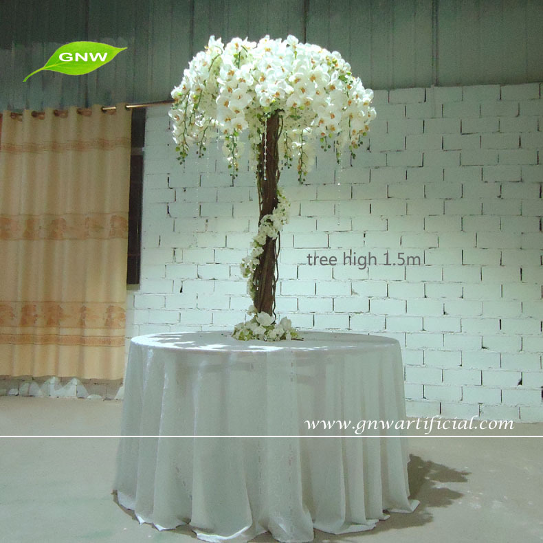 Gnw ctr tall artificial plastic white blossom tree