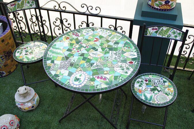 Tavoli Da Giardino Ferro E Ceramica.Ferro Battuto E Da Giardino In Ceramica Mosaico Tavolo E Sedie