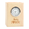 Supplying wooden table clock with custom logo for wholesale