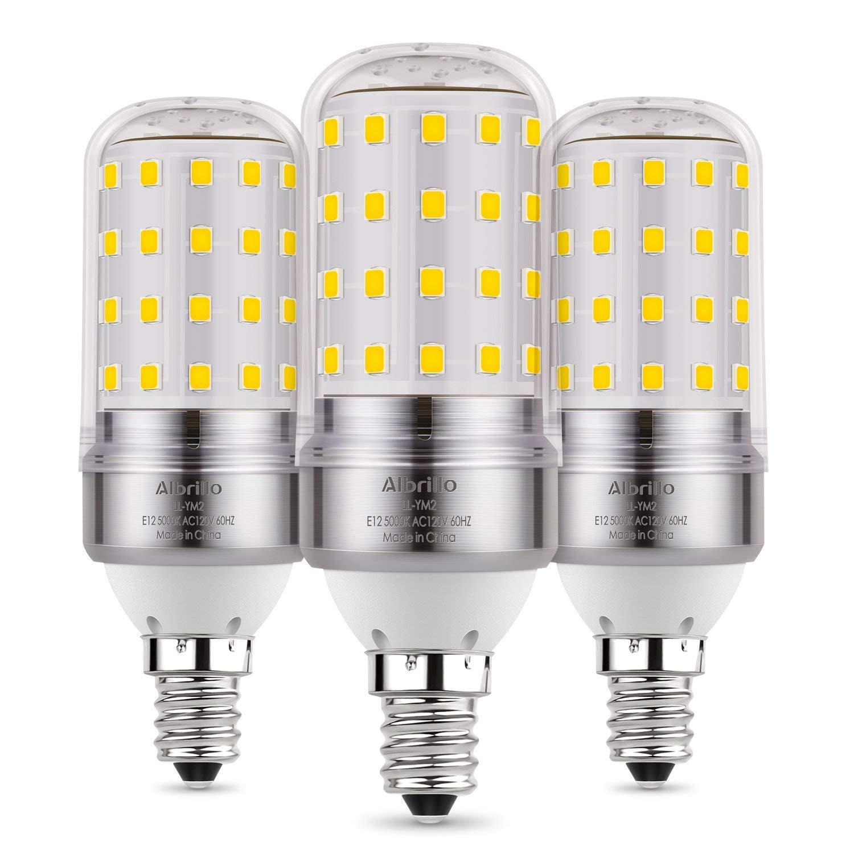 Albrillo E12 LED Bulb, Candelabra LED Bulbs 100 Watt Equivalent, Daylight White 5000K Candle Base Chandelier Light Bulbs Non-Dimmable LED Lamp, 3 Pack