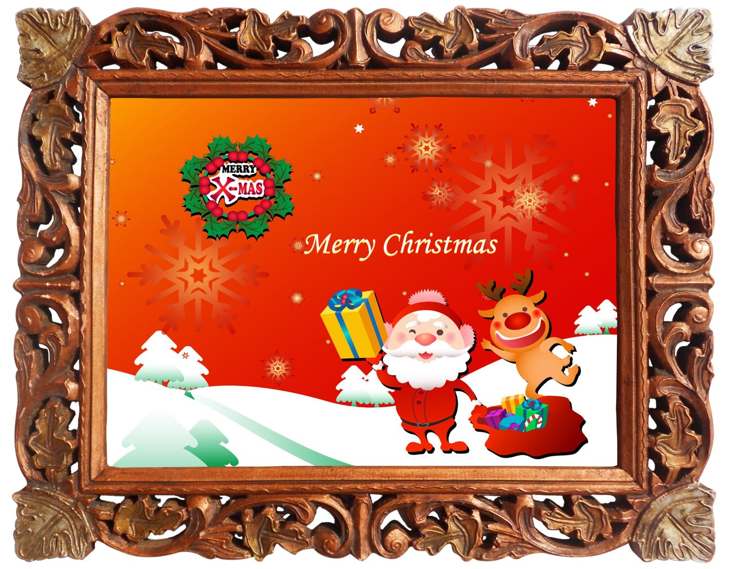 Get Quotations Merry Christmas Poster Framed In Wood Craft Frame Indian Decorative