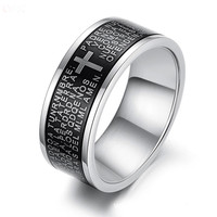 Wholesale Fashion Men's Accessories Simple Silver Men Male Titanium Steel Ring Lettering Bible Cross Rings